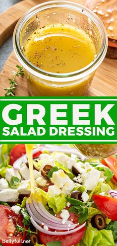 This zesty homemade Greek Salad Dressing recipe only takes minutes to make with just a few ingredients and is so full of flavor! Best Salad Dressing, Salad Dressing Recipes, Greek Salad Dressing Recipe Healthy, Pasta Salad Dressings, Salad Dressing Homemade, Homemade Salad Dressings, Best Dressing Recipe, Mediterranean Salad Dressing, Vinaigrette Salad Dressing