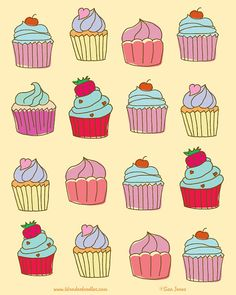 Cupcakes Pattern Print of Hand drawn illustration by wonderdoodles, $15.00