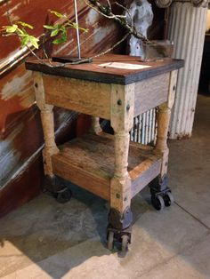 Turtle Table Industrial printing die cart on double casters. Wood. Iron top. 1880s.