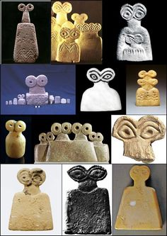 More on the eye idols, these are considered to be the first representations of the Gods from the region of Syria at around 3,500 Bc, and they are often seen decorated with the zig zag pattern from the...