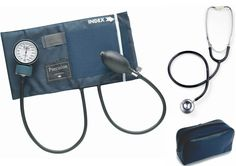 Item #932: Procuff Blood Pressure Cuff (Adult) w/stethoscope (Black). Adult blood pressure cuff (fits 23-33 cm). Adult dual head stethoscope. Zippered soft carrying case.