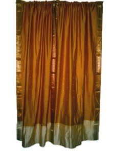 2 Window Treatment India Curtains Golden Brown Silk Sari Drapes Curtain 84 Inch: Home & Kitchen  	$54.00