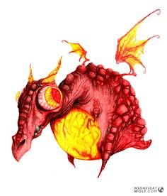 Red Dragon Red Dragon, Watercolours, Rooster, Moose Art, Wolf, Painting, Animals, Animales, Animaux