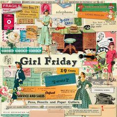 A retro office themed ephemera set designed to coordinate with the Girl Friday collection.