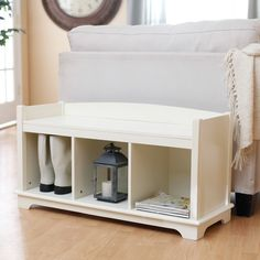 Have to have it. Kendall Cubbie Bench - Antique White - $129.99 @hayneedle.com