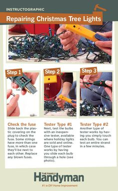 DIY Tutorial: Repairing Christmas Tree Lights. Learn three simple techniques for fixing strands of holiday lights. #christmas