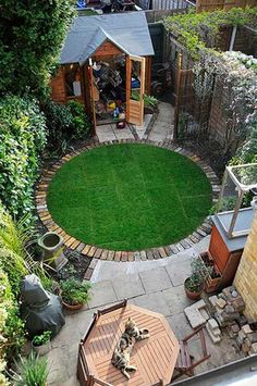 Tiny Courtyard with Round Playing Area.