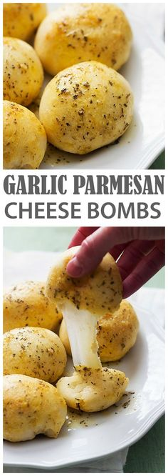 These Garlic Parmesan Cheese Bombs are INSANELY good!! Quick and easy and sure to be a huge hit!:
