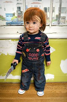 have to wonder about the parent who would dress their kid like chuckie, but i sure want to squeeze him!!!