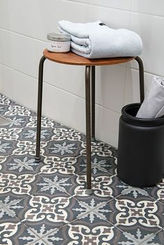 I've got a deep, deep obsession with encausticcement tiles. The eco-friendly tiles, which date back to the 12th century, are individually formed ina hand forged metal frame and deposited with pigmentedcement slurries. The frameis removed and additionallayers of cement are added and