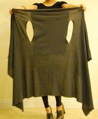 Tutorial: 1 Yard of jersey knit fabric, no sew wrap & scarf! www.theseams.blogspot.com