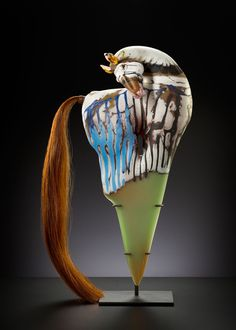 Painted 'Dagger Horse' 2013 -Shelley Muzylowski Allen; blown & hand-sculpted glass, horsehair, leather &steel. Photo KP-Studios