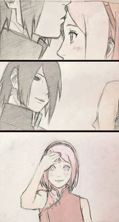 When no one is close, Sasuke with all confidence shows his affection for Sakura.