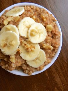 Slow Cooker Banana Nut Oatmeal Recipe ~ Steel cut oats cook overnight with bananas, walnuts and spices to create a healthy, make-ahead breakfast that will be waiting for you in the morning
