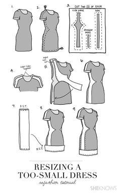 ein zu schmales Kleid weiter machen.
