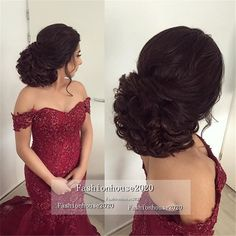 Burgundy Tulle Mermaid Wedding Dresses Off The Shoulder Appliques Beaded Plus Size Lace Wedding Dress Bridal Gowns Modest Bride Dress Beaded… Quince Hairstyles, Bride Hairstyles, Messy Hairstyles, Bridesmaid Hair, Prom Hair, Strapless Dress Hairstyles, Quinceanera Hairstyles, Long Hair Wedding Styles, Bridal Hair And Makeup