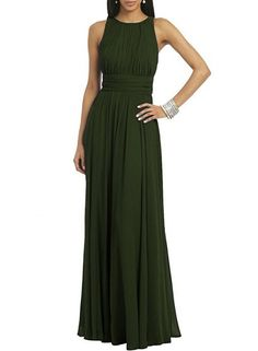 The dress features round neck, sleeveless, pleated decoration, back zipper closure, solid color and maxi length.;Polyester, soft and comfortable;The dress features round neck, sleeveless, pleated decoration, back zipper closure, solid color and maxi lengt