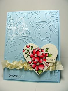 handmade Valentine ... Love-You,-You,-You ... sweet use of Bordering on Romance stamp in die cut heart ... Stampin' Up!