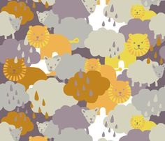Cloudy lions and lambs by katarina on Spoonflower