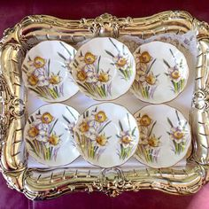 Antique China Saucers 6 Royal Albert Daffodil by VintageTeacupShop