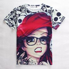 free shipping, $27.61/piece:buy wholesale  harajuku fashion women/men galaxy cartoon red hair girl with glasses red lips print short sleeve novely shock 3d skull t shirt 3d t shirt animal,floral t shirt men,t s,cotton,animal 3d t shirt men,number t shirt men on goodday57's Store from DHgate.com, get worldwide delivery and buyer protection service.