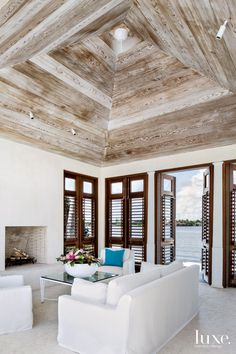 Modern White Pavilion with Lime-Washed Red Cedar Ceiling - Luxe Interiors + Design Floor Design, House Design, Modern Minimalist Living Room, Minimalist Fireplace, Minimalist Apartment, Minimalist Bedroom, Minimalist Decor, Red Cedar, Home Decor Kitchen