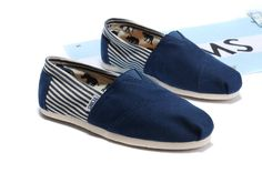 Women's Cheap Toms Shoes Navy Striped in Blue