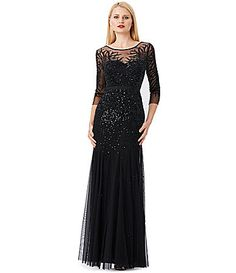 Adrianna Papell Beaded Illusion Gown #Dillards - Grace Kelly elegant!