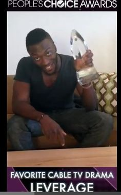 screen capped from LEVERAGE thank you video for winning  PCA award... Aldis Hodge