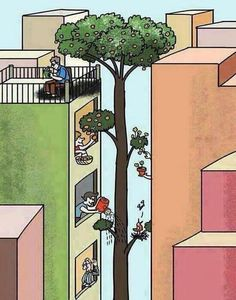 Urban farming makes cities happier and more harmonious Pictures With Deep Meaning, Meaningful Pictures, Powerful Pictures, Beautiful Pictures, Satirical Illustrations, Deeper Life, Save Nature, Deep Art, Social Art