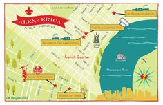 As Seen on STYLE ME PRETTY - New Orleans Wedding Map