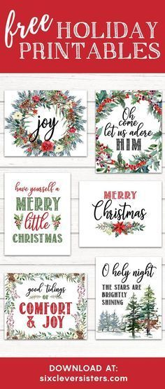 Printable Christmas Signs   Free Printable Christmas Signs   Holiday Printable Signs   Christmas Printables Free   Christmas Printables Free 8x10   Just download and print these Christmas signs on the Six Clever Sisters blog for an easy way to add extra holiday decor!
