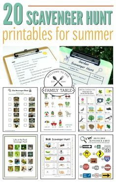 Looking for some fun activities for the kids this summer? Check out these 20 scavenger hunt printables for summer! Looking for some fun activities for the kids this summer? Check out these 20 scavenger hunt printables for summer! Camping Scavenger Hunts, Outdoor Scavenger Hunts, Scavenger Hunt Birthday, Nature Scavenger Hunts, Scavenger Hunt For Kids, Kindergarten Scavenger Hunt, Summer Activities For Kids, Summer Kids, Family Activities