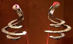 Ribbon Pendant Earrings by JAR, diamond, silver, gold, 2005. Photo by Cheryl Kremkow.