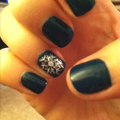 Got it! OPI Ski teal we drop with a snowflake design! Yay