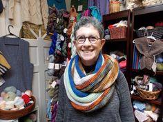 """Joanne in her """"Technicolor Cowl,"""" knit in Alchemy Sanctuary."""