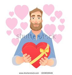 Young Man gives heart. Gift giving illustration. Stock photography, images, pictures, Illustrations, ideas. Download vector illustrations and photos on Shutterstock, Istockphoto, Fotolia, Adobe, Dreamstime