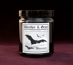 A standard clove scented candle to please those black hearts who revel in the darkness of night. DARK SERIES: History's shadows are highlighted in this series of night creatures, madmen, murderers, an