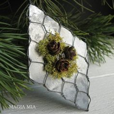 3 Chicken Wire Zinc Ornaments Pinecone Reindeer Moss by MagiaMia