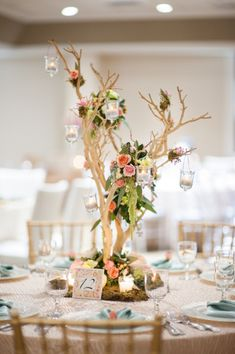 candlelit branch wedding centerpiece with hanging amaranthus and eucalyptus leaves - love // The Not Wedding : Cape Cod