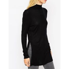 Mock Neck Slit Sweater ($19) ❤ liked on Polyvore featuring tops, sweaters, black, long sleeve turtleneck, mock neck sweater, mock turtle neck sweater, sweater pullover en black long sleeve sweater