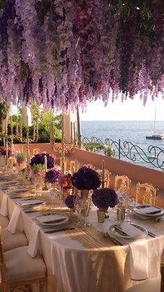 Romantic, purple wedding at Villa Tre Ville in Positano, Italy by Marcy Blum garden wedding reception Purple Positano Wedding Reception Wedding Ceremony Ideas, Wedding Table, Rustic Wedding, Patio Wedding, Purple Wedding Receptions, Boho Wedding, Whimsical Wedding Theme, Wedding Favors, Outdoor Wedding Flowers