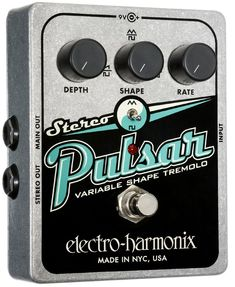 Buy Stereo Pulsar at Mighty Ape Australia. Electro-Harmonix EHX-S-PULSAR guitar effects – Stereo Pulsar Variable Shape Analog Tremolo Pedal. The Stereo Pulsar generates vintage tremolo and pan. Guitar Effects Pedals, Guitar Pedals, Nyc, The Mars Volta, Triangle Wave, 9 Volt Battery, Best Guitar Players, Pulsar, Ideas