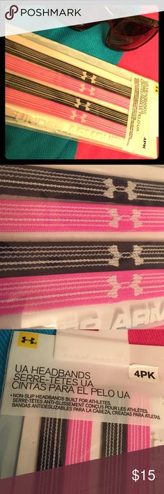 🆕 Under Armour Headbands, 4 PK Authentic Under Armour Headbands 4 Pack. Unisex. Non-Slip Headbands built for Athletes. 2 Black & Metallic Grey. 2 Pink & Metallic Grey. 47% Nylon/32% Polyester/21% Spandex. Brand New in Sealed Package. Excellent Condition. No Trades. Under Armour Accessories Hair Accessories