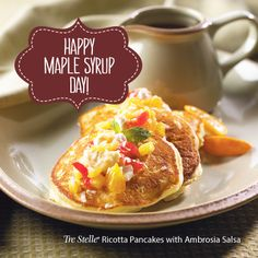 The added protein of Ricotta will make this your go-to pancake recipe. The ambrosia salsa makes this dish restaurant-style! Ricotta Pancakes, Maple Syrup, Brunch Recipes, Salsa, French Toast, Protein, Dishes, Breakfast, Happy