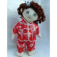 "Cuddly 18"" Rag Doll In Chinese Oriental Pyjamas Brown Curly Hair, Big Blue Eyes, New Year Photos, Chinese New Year, Pyjamas, Curly Hair Styles, Oriental, Rag Dolls, Christmas Ornaments"