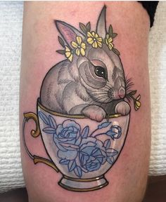 Hannah Flowers rabbit tattoo