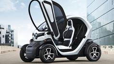 Renault Twizy now available for the — seems young, but then I had my own car when I was 13 Mercury Coupe). Small Electric Cars, 49 Mercury, Container Van, Automobile, Van Home, City Car, Canada, 14 Year Old, Motorcycle Bike