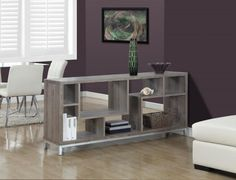 TV Console - 60-Inch in Dark Taupe Reclaimed-Look by Monarch Specialties Inc.- I-2578- Organize.com