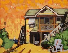 """Daily Paintworks - """"Hot Beach Cottage"""" by Kevin Larson"""